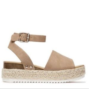 Shoes - Platform Espadrille Sandals in Taupe. NWT